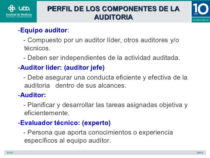 PERFIL DE LOS COMPONENTES DE LA                      AUDITORIA-Equipo auditor:  - Compuesto por un auditor líder, otros au...