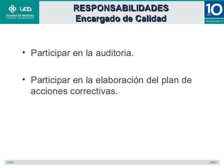 RESPONSABILIDADES               Encargado de Calidad•   Participar en la auditoria.•   Participar en la elaboración del pl...
