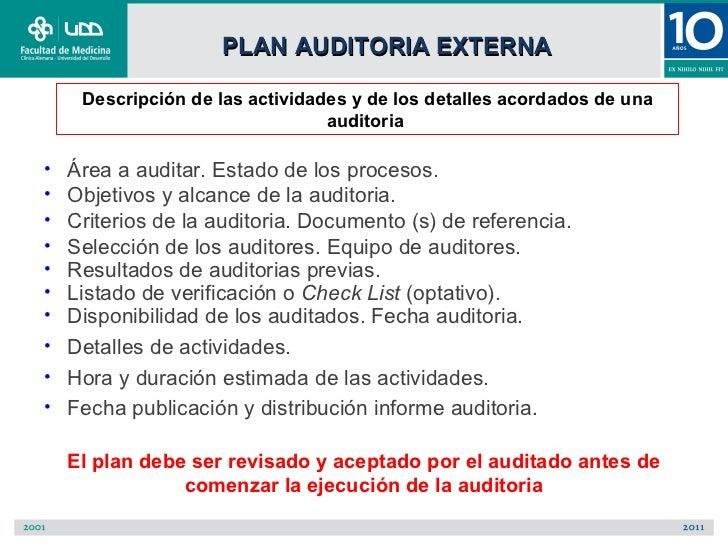 PLAN AUDITORIA EXTERNA     Descripción de las actividades y de los detalles acordados de una                              ...