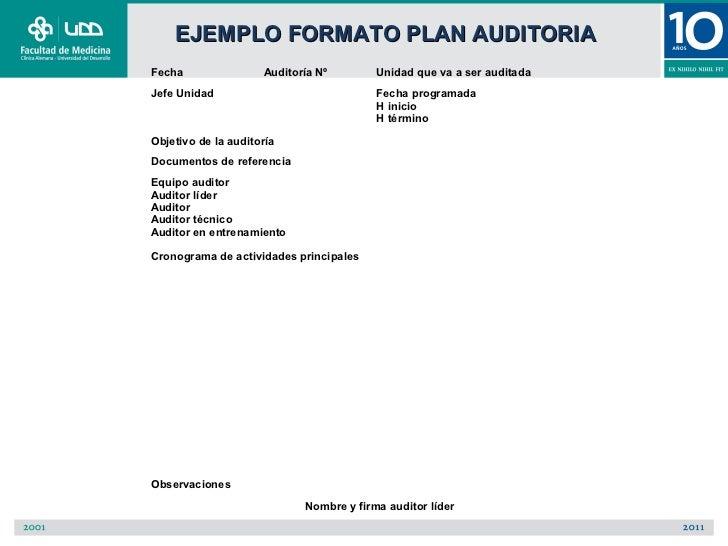 EJEMPLO FORMATO PLAN AUDITORIAFecha                Auditoría Nº        Unidad que va a ser auditadaJefe Unidad            ...