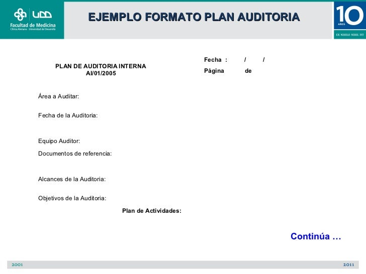 EJEMPLO FORMATO PLAN AUDITORIA                                                    Fecha :   /    /      PLAN DE AUDITORIA ...