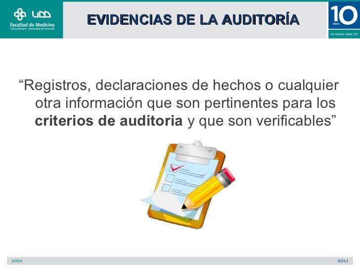"""EVIDENCIAS DE LA AUDITORÍA""""Registros, declaraciones de hechos o cualquier  otra información que son pertinentes para los  ..."""