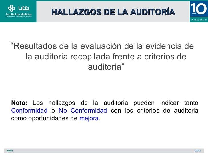 """HALLAZGOS DE LA AUDITORÍA""""Resultados de la evaluación de la evidencia de    la auditoria recopilada frente a criterios de ..."""