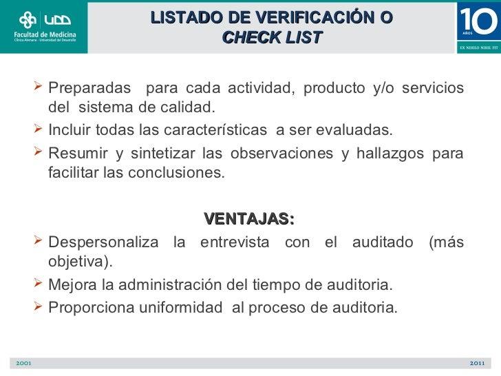 LISTADO DE VERIFICACIÓN O                      CHECK LIST Preparadas para cada actividad, producto y/o servicios  del sis...