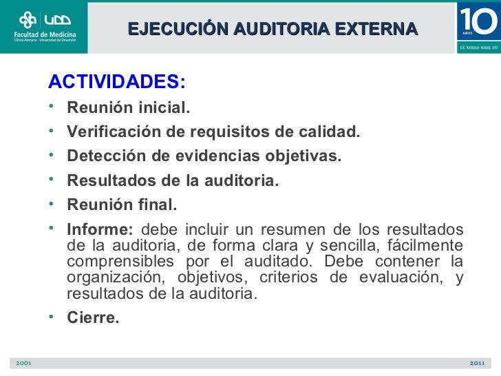 EJECUCIÓN AUDITORIA EXTERNAACTIVIDADES:• Reunión inicial.• Verificación de requisitos de calidad.• Detección de evidencias...