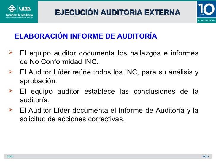 EJECUCIÓN AUDITORIA EXTERNA    ELABORACIÓN INFORME DE AUDITORÍA    El equipo auditor documenta los hallazgos e informes  ...