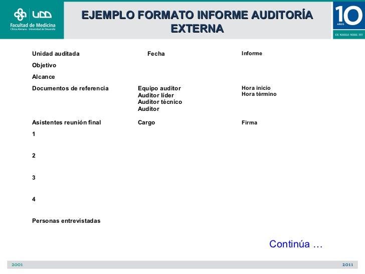 EJEMPLO FORMATO INFORME AUDITORÍA                              EXTERNAUnidad auditada               Fecha          Informe...