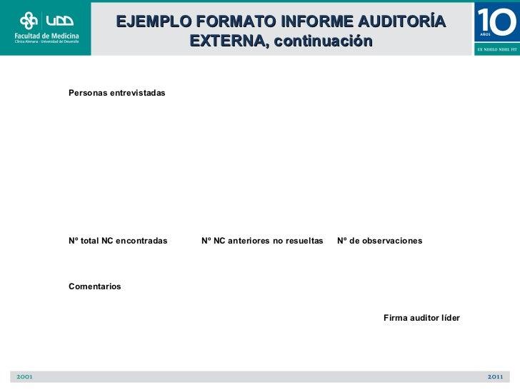 EJEMPLO FORMATO INFORME AUDITORÍA                 EXTERNA, continuaciónPersonas entrevistadasNº total NC encontradas   Nº ...