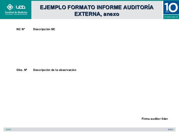 EJEMPLO FORMATO INFORME AUDITORÍA                        EXTERNA, anexoNC Nº     Descripción NCObs. Nº   Descripción de la...