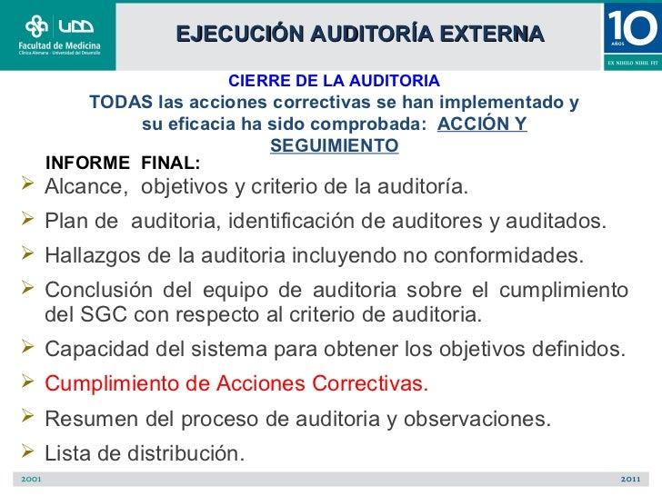 EJECUCIÓN AUDITORÍA EXTERNA                      CIERRE DE LA AUDITORIA      TODAS las acciones correctivas se han impleme...