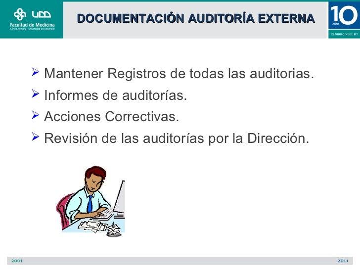 DOCUMENTACIÓN AUDITORÍA EXTERNA Mantener Registros de todas las auditorias. Informes de auditorías. Acciones Correctiva...