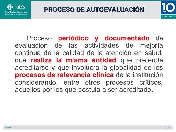 PROCESO DE AUTOEVALUACIÓN    Proceso periódico y documentado deevaluación de las actividades de mejoríacontinua de la cali...