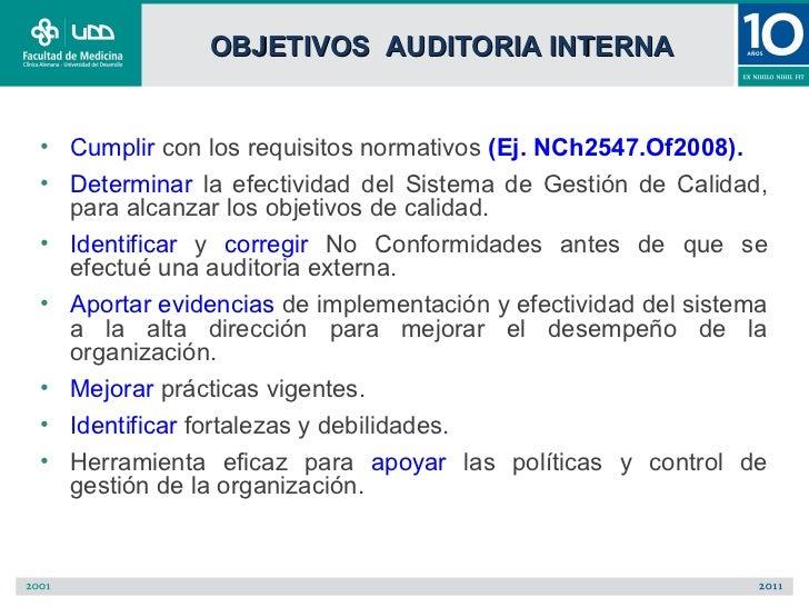 OBJETIVOS AUDITORIA INTERNA• Cumplir con los requisitos normativos (Ej. NCh2547.Of2008).• Determinar la efectividad del Si...