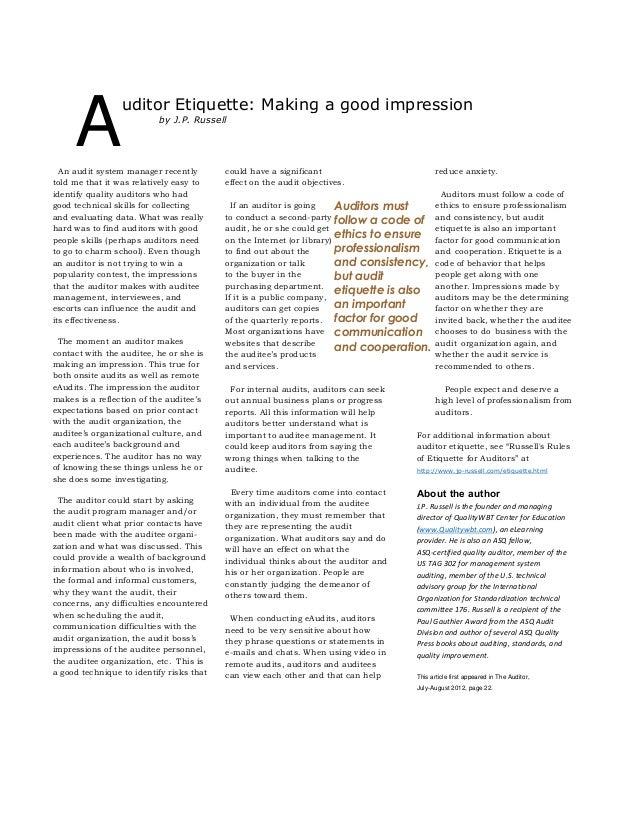 Auditor Etiquette: Making a good impression
