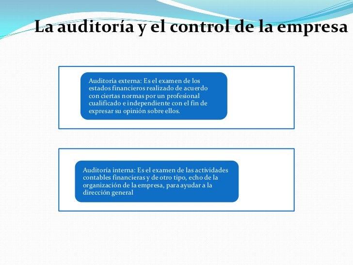 La auditoría y el control de la empresa<br />