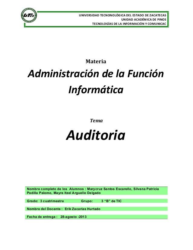 UNIVERSIDAD TECNONOLÓGICA DEL ESTADO DE ZACATECAS UNIDAD ACADÉMICA DE PINOS TECNOLOGÍAS DE LA INFORMACIÓN Y COMUNICAC Mate...