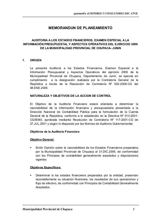 quintanilla AUDITORES Y CONSULTORES SOC. CIVIL                  MEMORANDUN DE PLANEAMIENTO     AUDITORIA A LOS ESTADOS FIN...