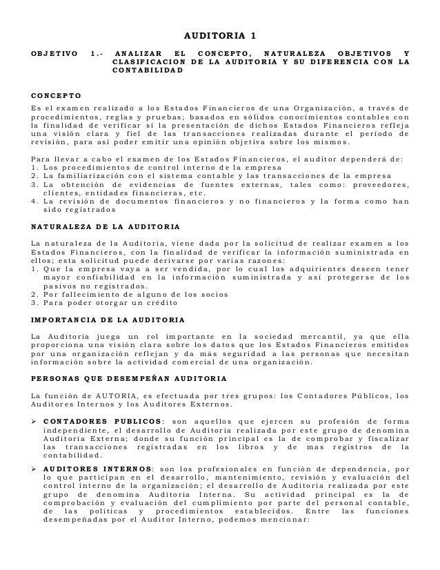AUDITORIA 1OBJETIVO      1.-    ANALIZAR  EL  CONCEPTO,  NATURALEZA    OBJETIVOS  Y                    CLASIFICACION DE LA...