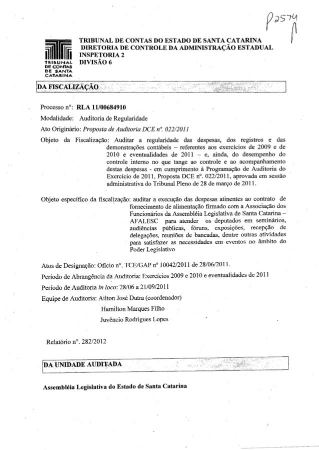 """IR P~610J TRIDUNAL DE CONTAS DO ESTADO DE SANTA CATARINA fDIRETORIA DE CO""""NTROLE DA ADMINISTRAÇÃO ESTADUAL INSPETORIA 2 DI..."""