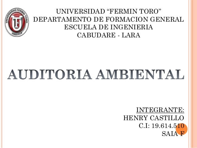 """UNIVERSIDAD """"FERMIN TORO""""DEPARTAMENTO DE FORMACION GENERAL       ESCUELA DE INGENIERIA          CABUDARE - LARA           ..."""