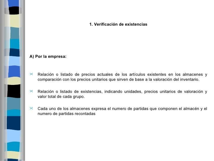 1.VerificacióndeexistenciasA) Porlaempresa:   Relación o listado de precios actuales de los artículos existentes en ...