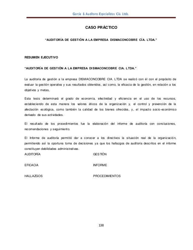 """García & Auditores Especialistas Cía. Ltda. 138 CASO PRÁCTICO """"AUDITORÍA DE GESTIÓN A LA EMPRESA DISMACONCOBRE CÍA. LTDA.""""..."""