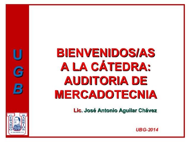 BIENVENIDOS/ASBIENVENIDOS/AS A LA CÁTEDRA:A LA CÁTEDRA: AUDITORIA DEAUDITORIA DE MERCADOTECNIAMERCADOTECNIA LicLic.. José ...