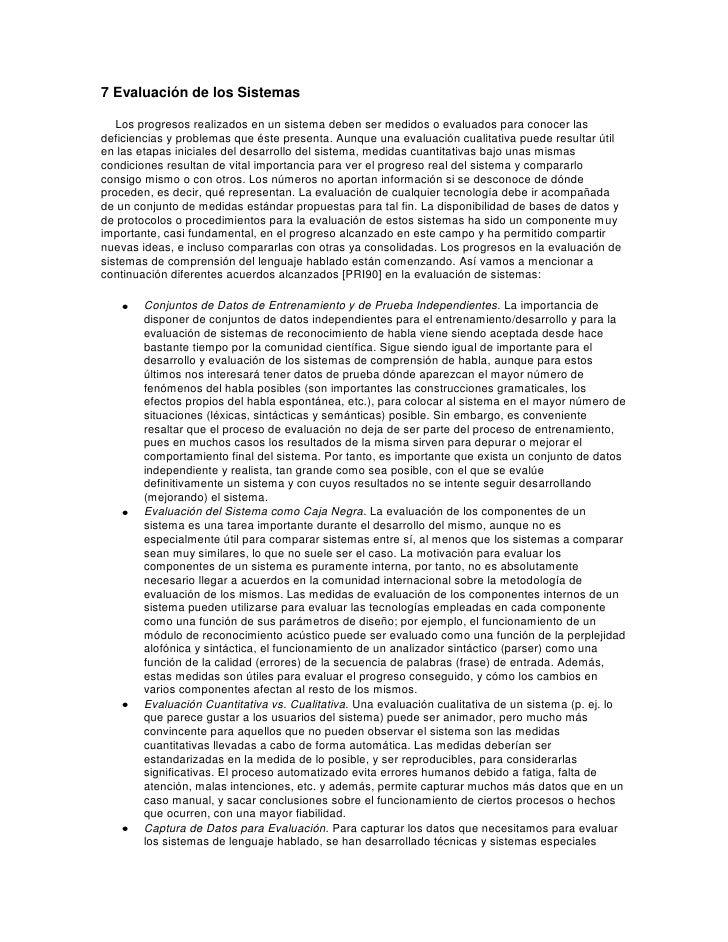 7 Evaluación de los Sistemas<br />Los progresos realizados en un sistema deben ser medidos o evaluados para conocer las de...