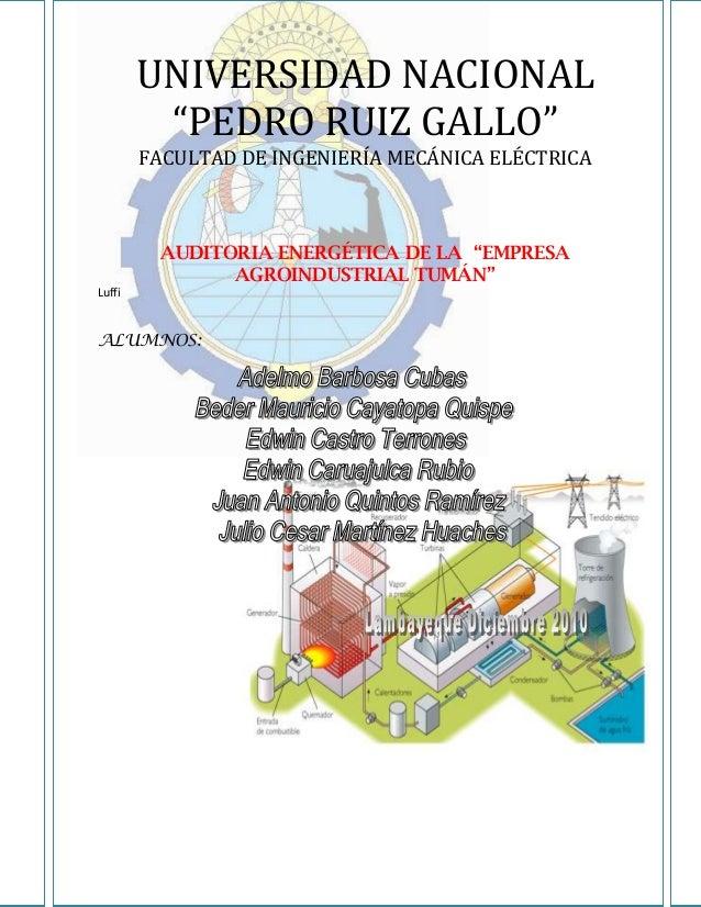 """UNIVERSIDAD NACIONAL         """"PEDRO RUIZ GALLO""""        FACULTAD DE INGENIERÍA MECÁNICA ELÉCTRICA          AUDITORIA ENERGÉ..."""
