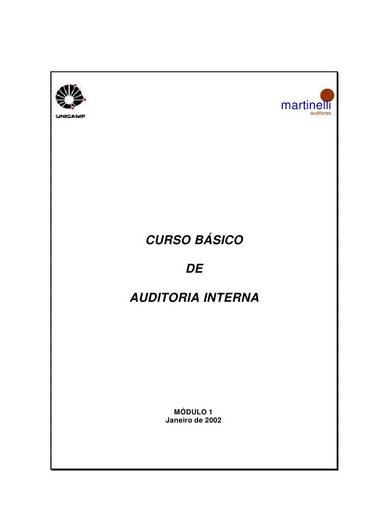 martinelli                           auditores  CURSO BÁSICO         DEAUDITORIA INTERNA      MÓDULO 1    Janeiro de 2002