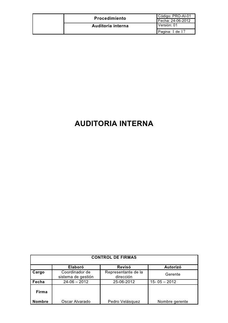 Código: PRO-AI-01                              Procedimiento                Fecha: 24-06-2012                           Au...