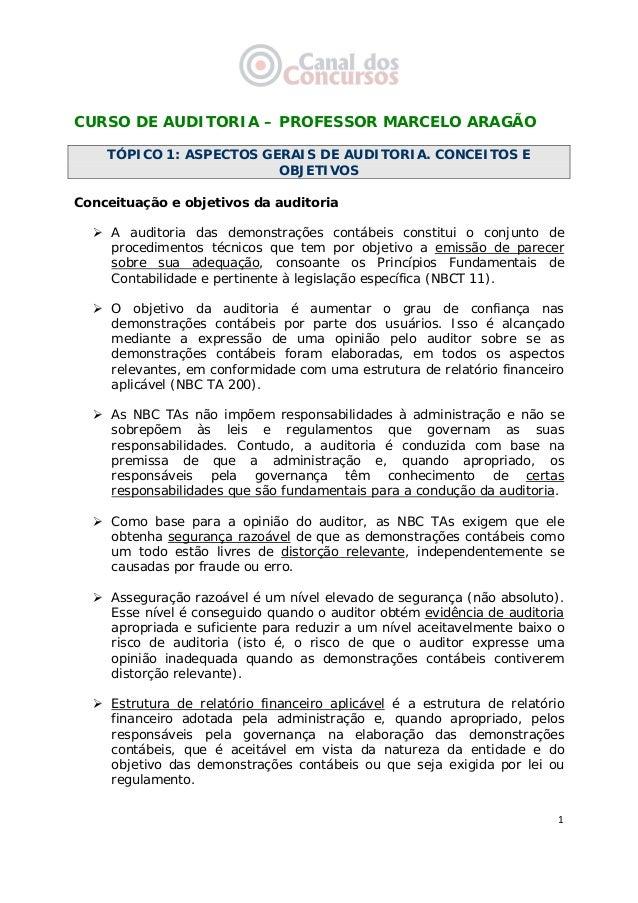 1 CURSO DE AUDITORIA – PROFESSOR MARCELO ARAGÃO TÓPICO 1: ASPECTOS GERAIS DE AUDITORIA. CONCEITOS E OBJETIVOS Conceituaç...