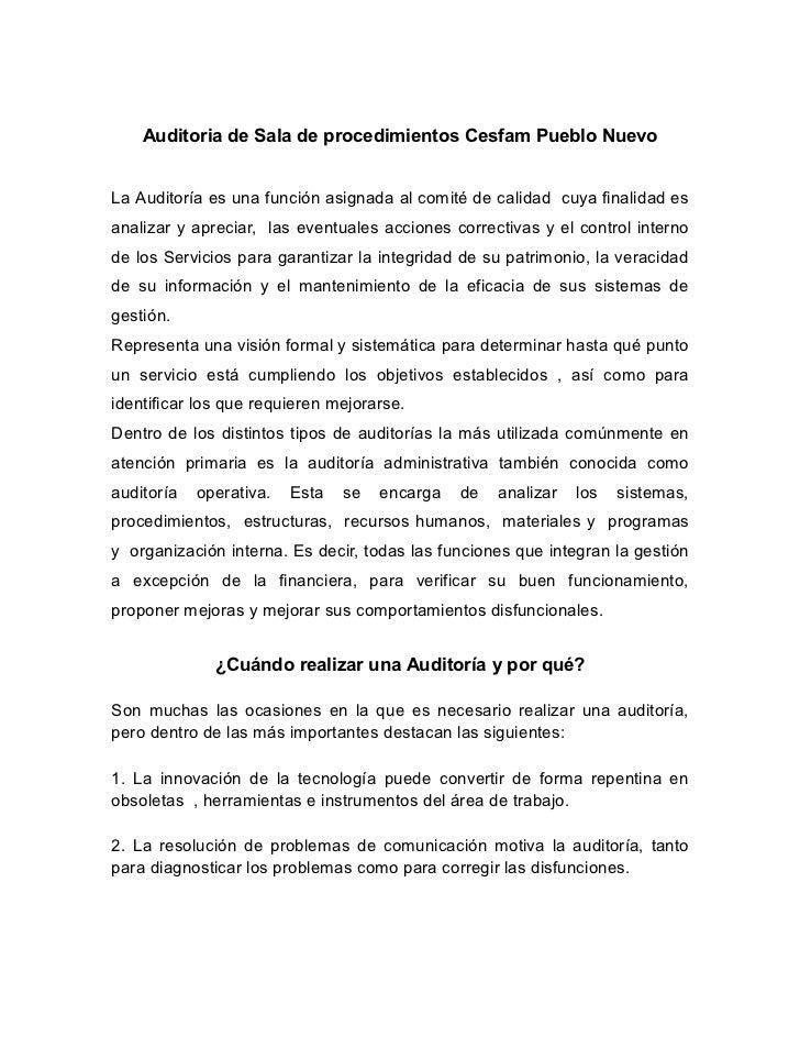 Auditoria de Sala de procedimientos Cesfam Pueblo NuevoLa Auditoría es una función asignada al comité de calidad cuya fina...