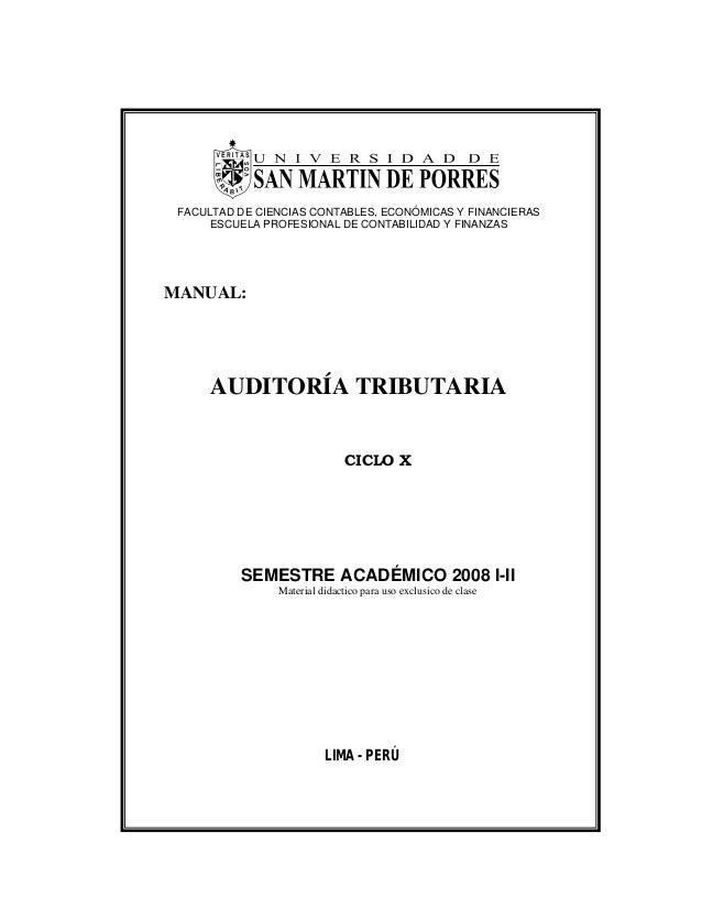 FACULTAD DE CIENCIAS CONTABLES, ECONÓMICAS Y FINANCIERAS ESCUELA PROFESIONAL DE CONTABILIDAD Y FINANZAS MANUAL: AUDITORÍA ...