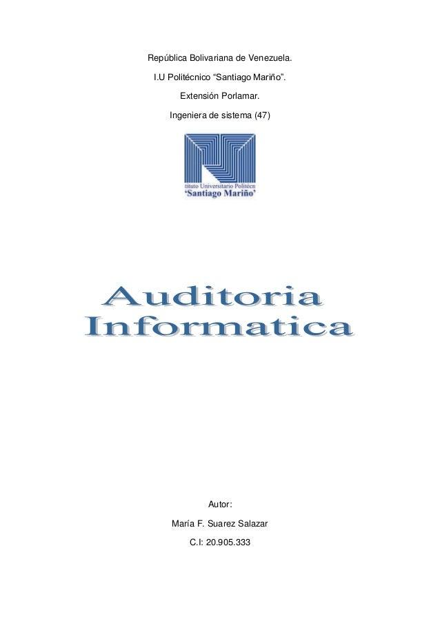"""República Bolivariana de Venezuela. I.U Politécnico """"Santiago Mariño"""". Extensión Porlamar. Ingeniera de sistema (47) Autor..."""