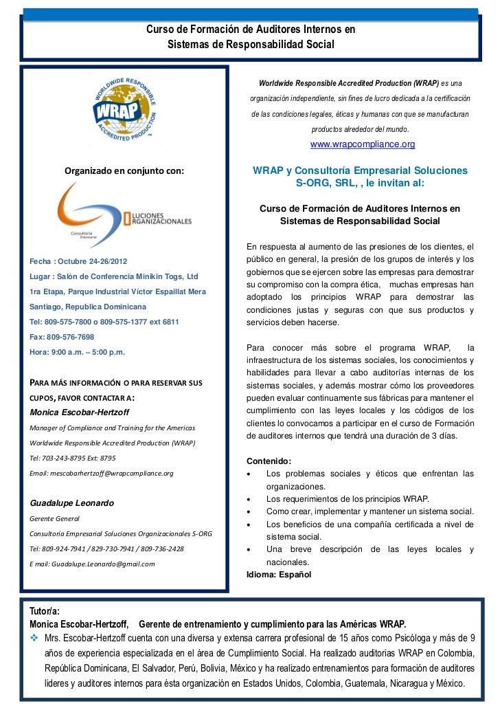 Curso de Formación de Auditores Internos en                                        Sistemas de Responsabilidad Social     ...