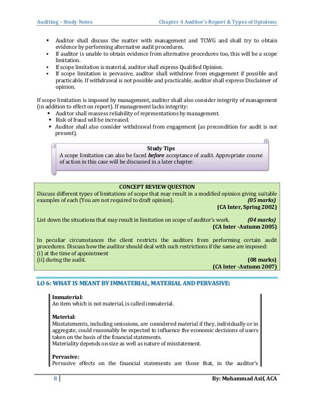 Auditor S Report And Types Of Opinions