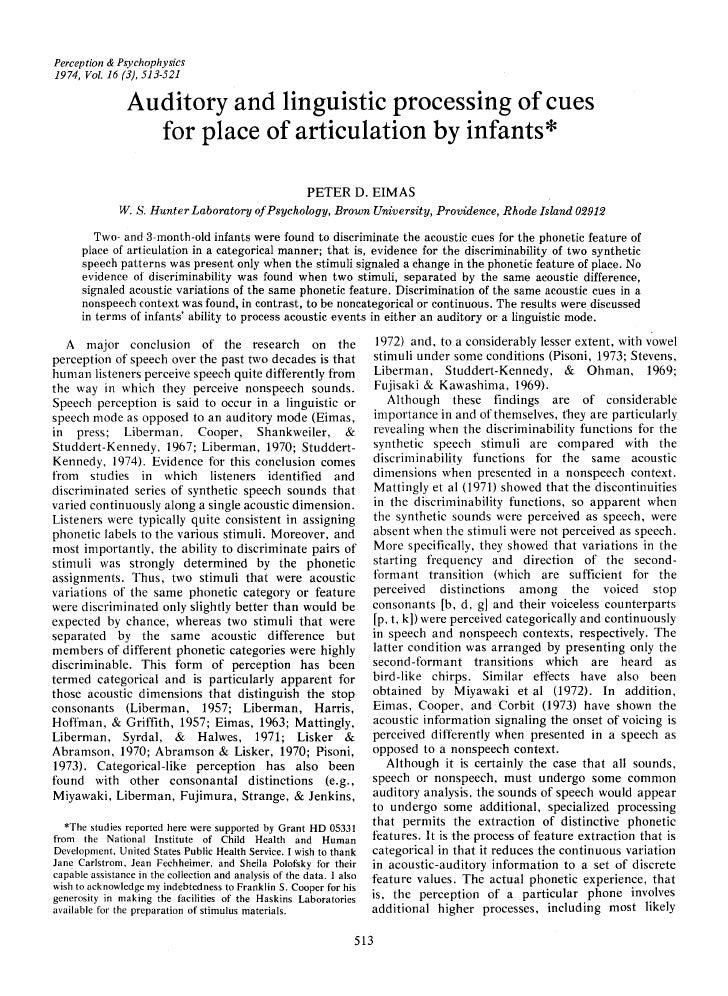 Perception & Psychophysics1974, Vol. 16 (3), 513-521                Auditory and linguistic processing of cues            ...