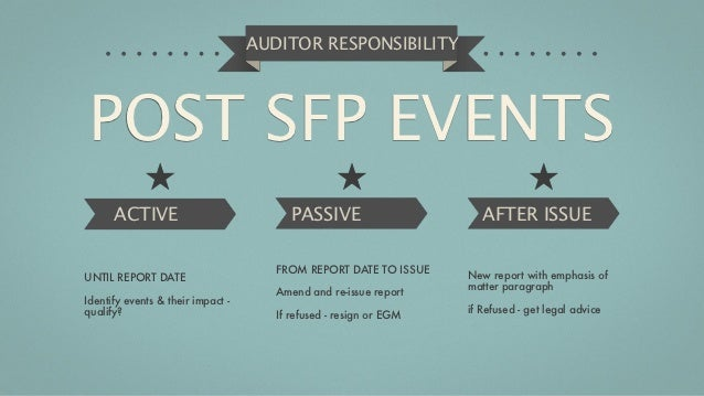 AUDITOR RESPONSIBILITYPOST SFP EVENTS      ACTIVE                             PASSIVE                      AFTER ISSUE    ...