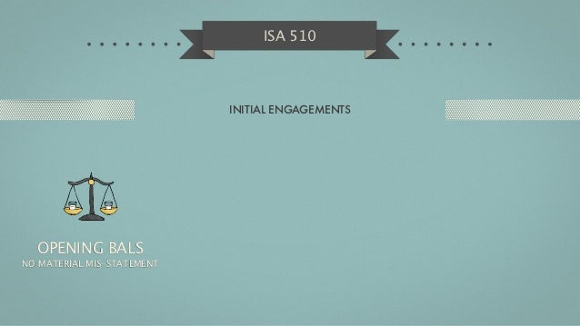 ISA 510                            INITIAL ENGAGEMENTS  OPENING BALSNO MATERIAL MIS-STATEMENT