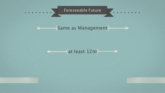 Foreseeable FutureSame as Management    at least 12m