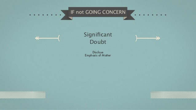 IF not GOING CONCERN    Significant      Doubt         Disclose     Emphasis of Matter