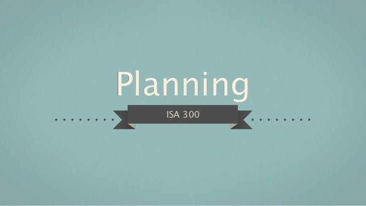 Planning   ISA 300
