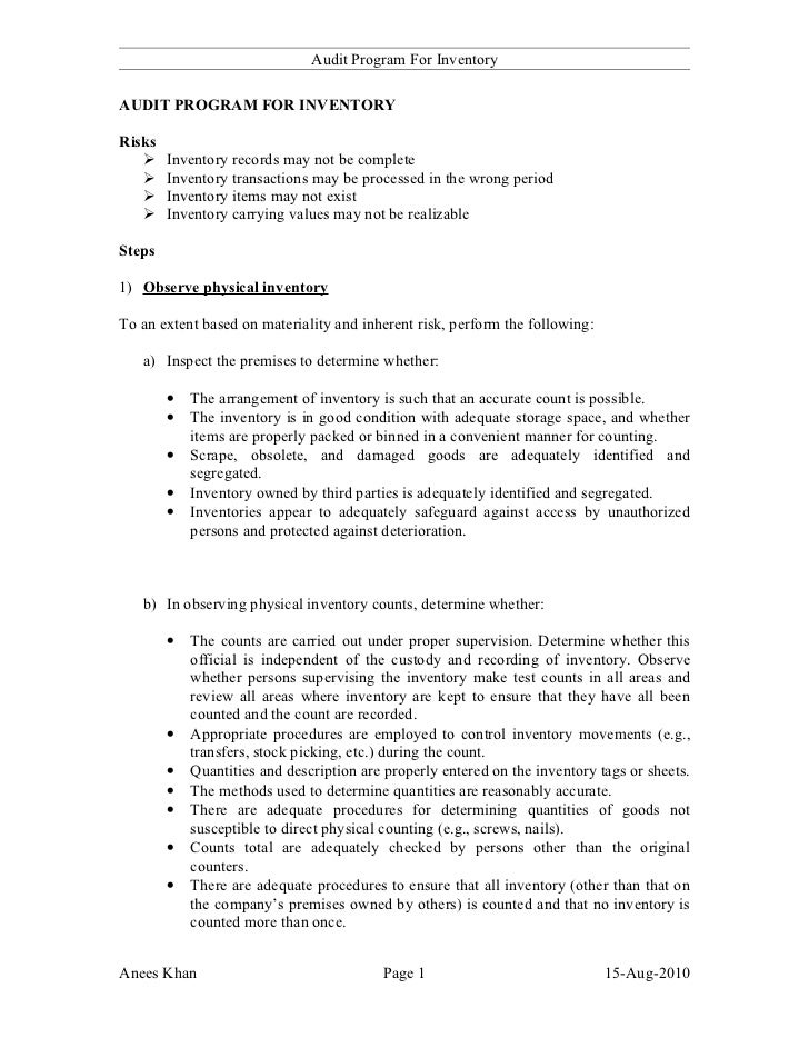 Audit Program For Inventory  AUDIT PROGRAM FOR INVENTORY  Risks        Inventory records may not be complete        Inve...