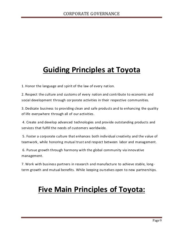 toyotas corporate governance The aim of this paper is thus to identify the corporate governance (cg) mechanisms in toyota and evaluate them in terms of the recent events and to assess whether the cg policy has had an influence on toyota's performance.
