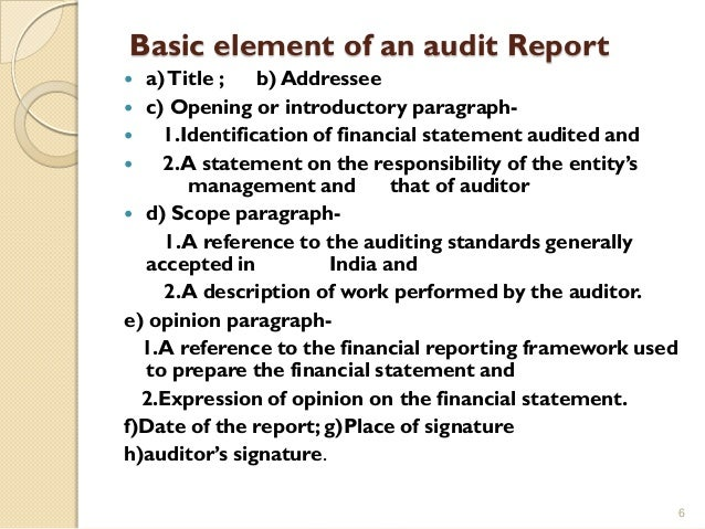 ... 6. Basic Element Of An Audit Report ...