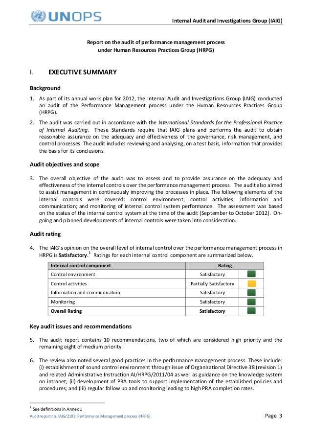 performance management Audit report