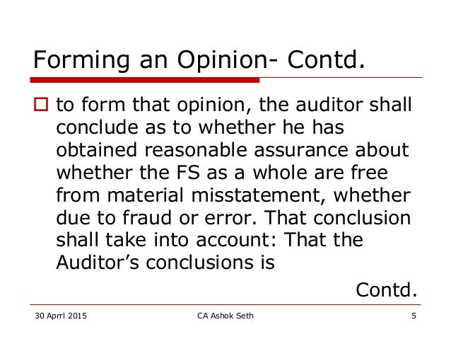 Audit reports under cos act 2013 and sa 700 revised april 15