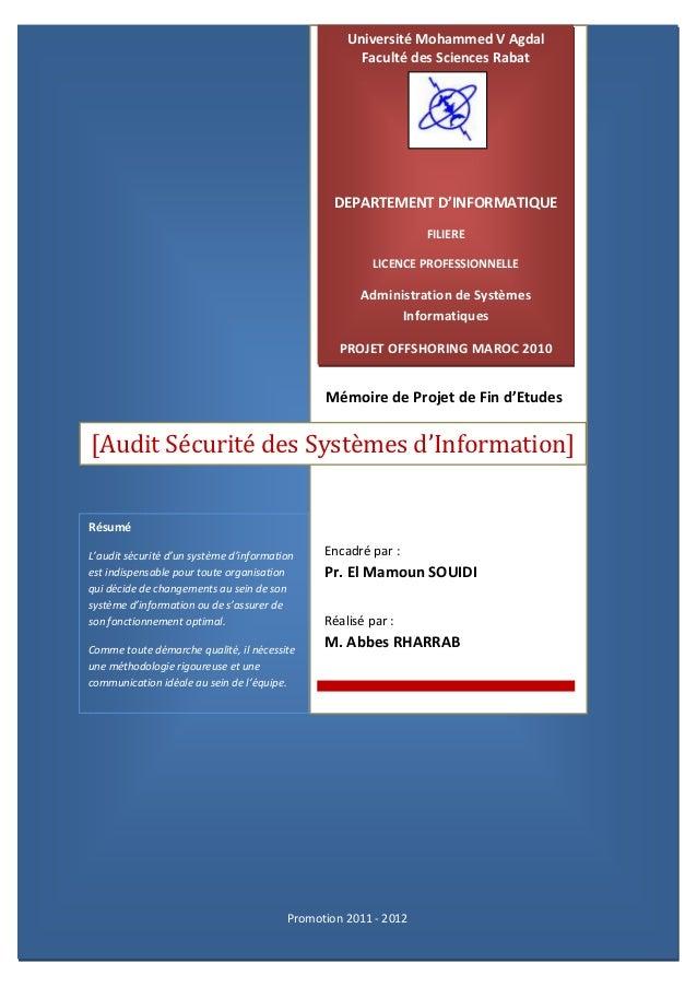 Université Mohammed V Agdal                                                     Faculté des Sciences Rabat                ...