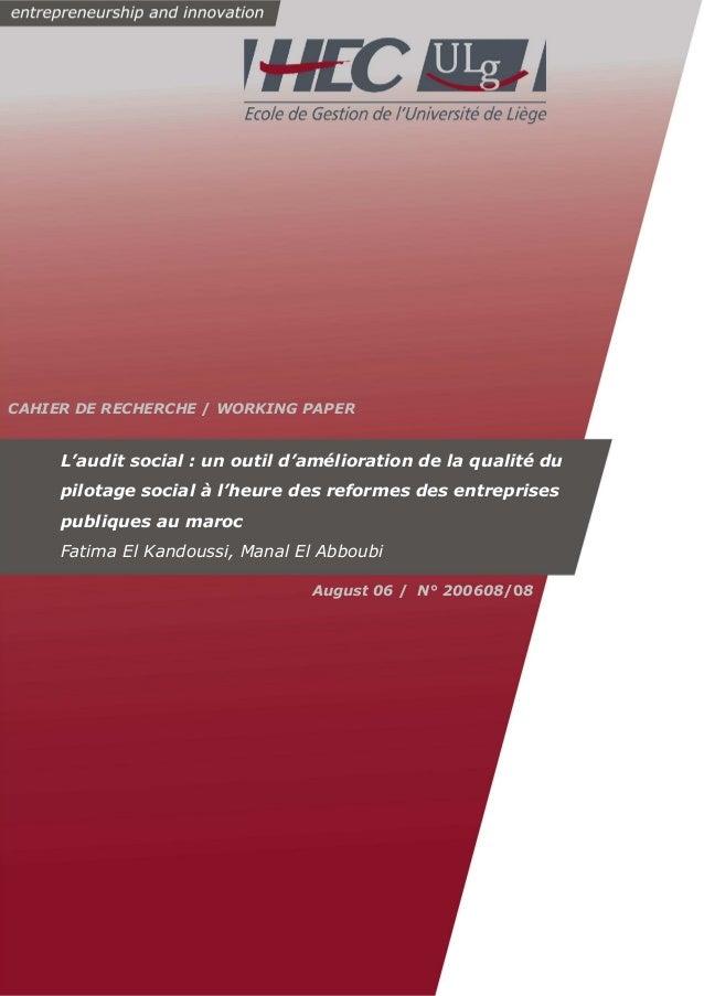 CAHIER DE RECHERCHE / WORKING PAPER  L'audit social : un outil d'amélioration de la qualité du  pilotage social à l'heure ...